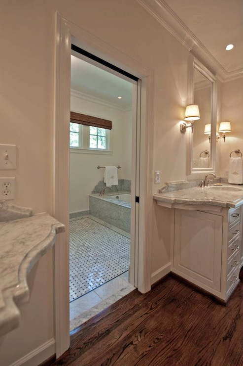 Marble basketweave tile floor transitional bathroom for Marble master bathroom