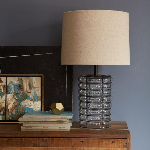 Blown glass table lamp west elm linear blown glass table lamp west elm greentooth Gallery