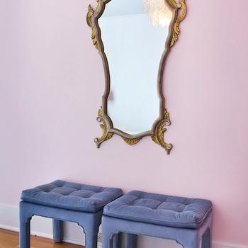 Blue Tufted Ottomans, Eclectic, girl's room, House of Honey
