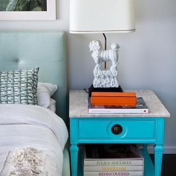 Turquoise Nightstand, Eclectic, bedroom, House of Honey