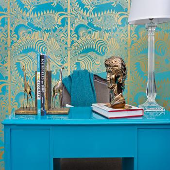 Turquoise Desk, Eclectic, den/library/office, House of Honey