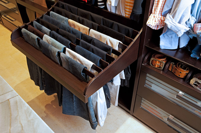 Fantastic, Mens Closet With Pullout Pant Rack! Espresso Finished Cabinetry  And Glass Fronted Drawers.