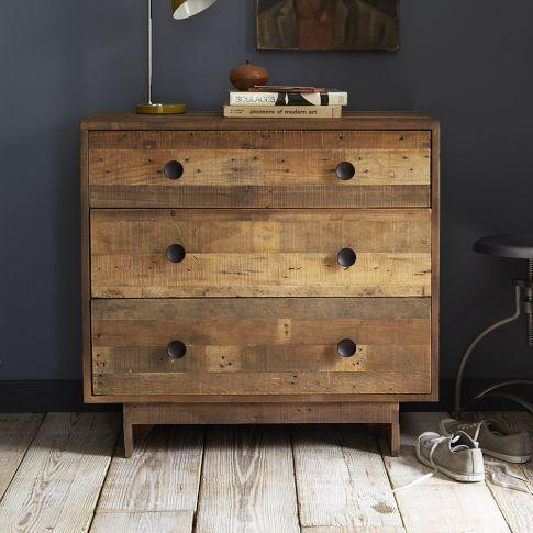 Emmerson Reclaimed Wood 3 Drawer Dark Brown Dresser