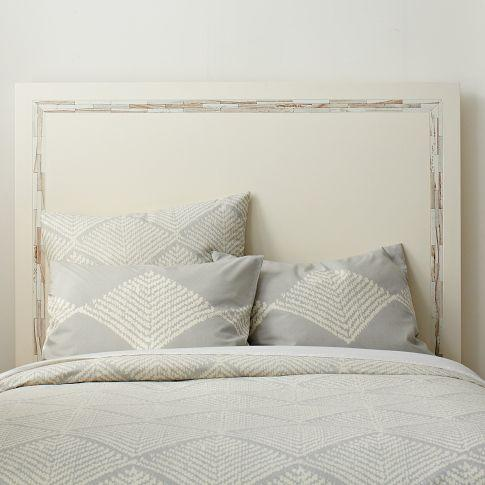 White Crescent Heights Lacquer Headboard