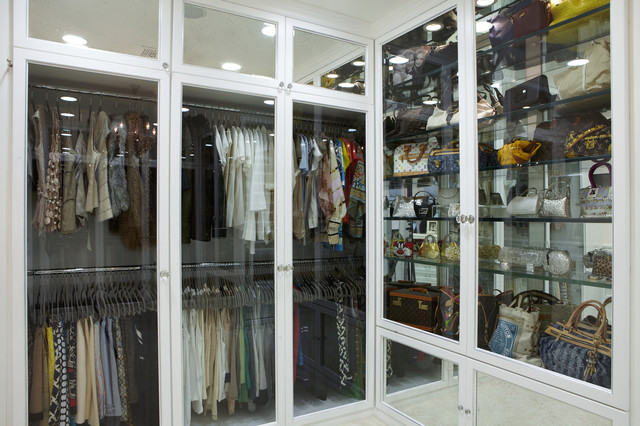 Glass Front Doors Contemporary Closet La Closet Design