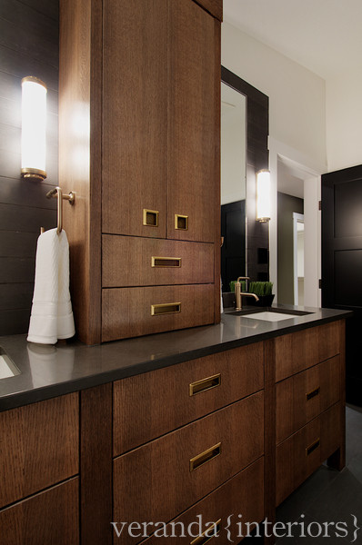Chocolate Brown Cabinets Contemporary Bathroom