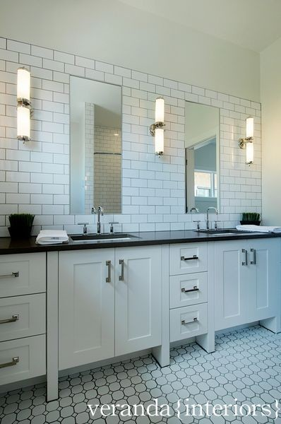 Subway tile backsplash contemporary bathroom veranda interiors - Bathroom subway tile backsplash ...
