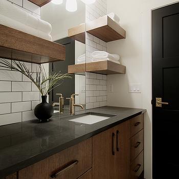 Chocolate Brown Bathroom cabinets, Contemporary, bathroom, Veranda Interiors