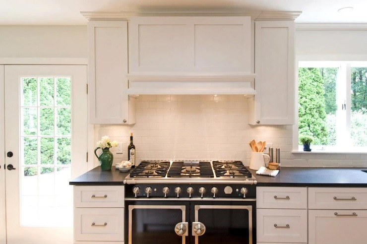 White Kitchen Hood black and white kitchen - cottage - kitchen - hampton design