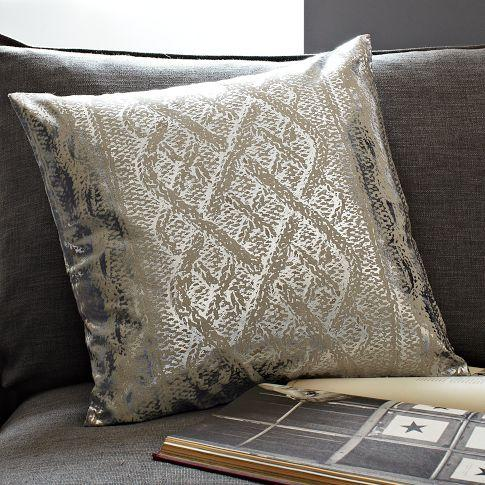 Metallic Faux Knit Pattern Pillow Cover West Elm