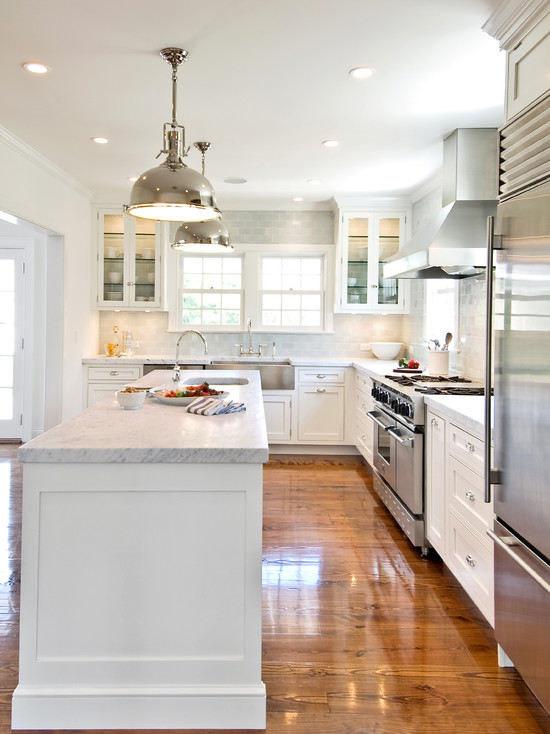L Shaped Transitional Kitchens White Appliances