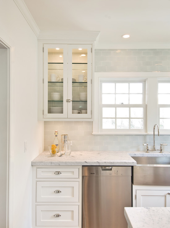 Blue Subway Tile Backsplash Transitional Kitchen Hampton Design
