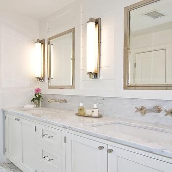 White Bathroom Cabinets with Marble Countertops, Cottage, bathroom, Hampton Design
