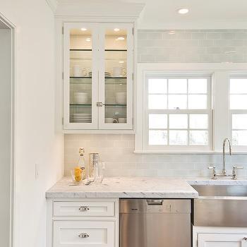 Blue Subway Tile, Transitional, kitchen, Hampton Design
