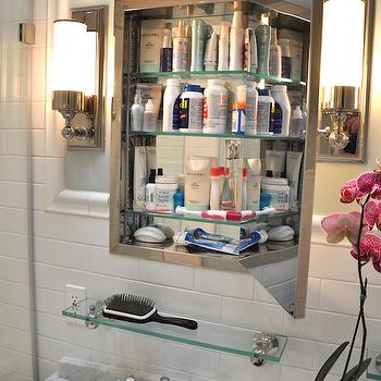 Inset Medicine Cabinet, Traditional, bathroom, Benjamin Moore Quiet Moments, Brooklyn Limestone