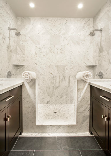 Slate Herringbone Shower Floor Tiles Transitional Bathroom: master bathroom tile floor