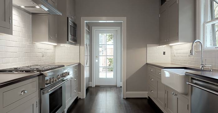 Gray Galley Kitchen Contemporary Elizabeth