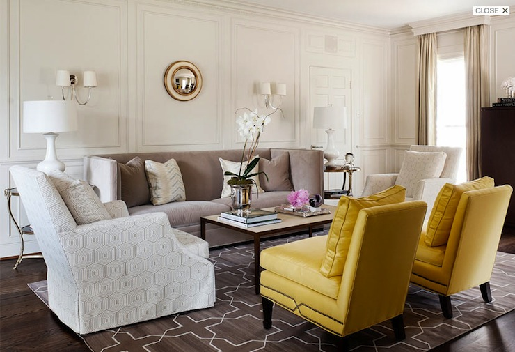 Yellow and gray living room transitional living room for Yellow and grey living room ideas
