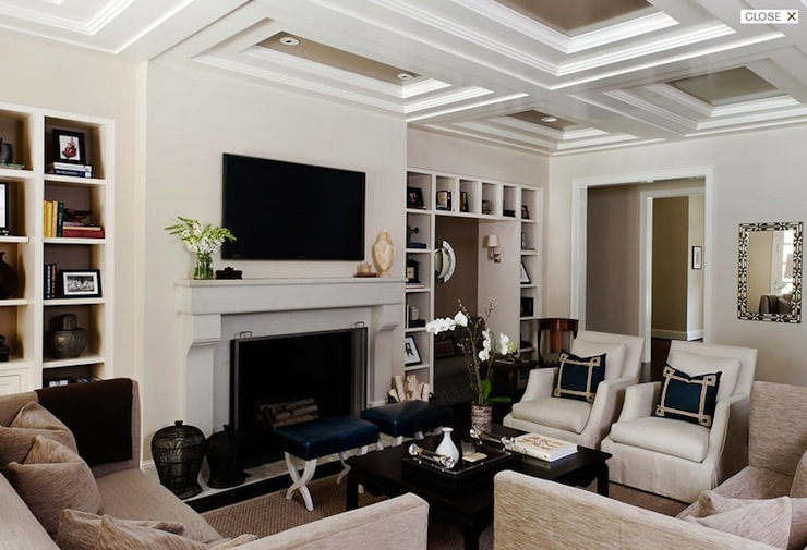 Coffered Ceiling Transitional Living Room Courtney