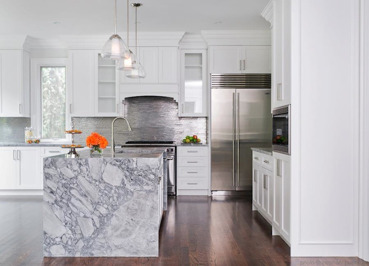 Waterfall Marble Kitchen Island