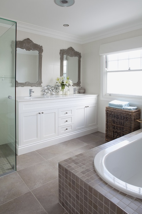 Gray Ornate Mirror Transitional Bathroom The House That Am Built