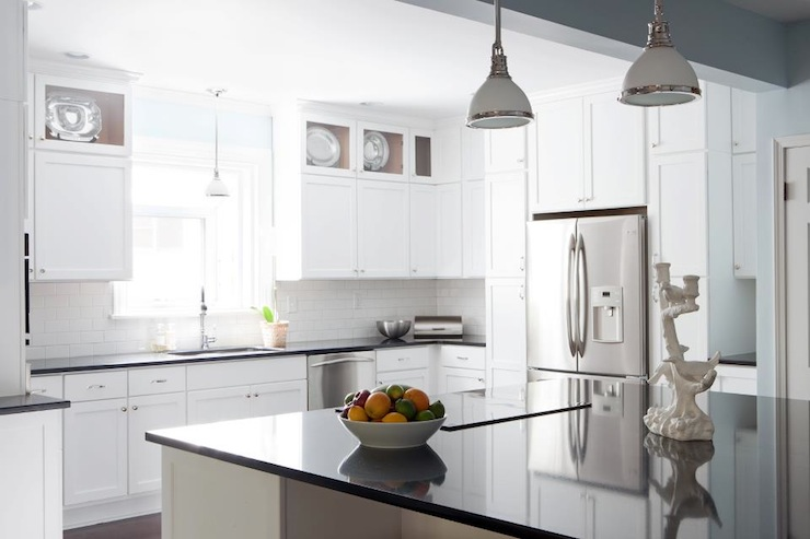 Black Quartz Countertops Cottage Kitchen Beth Haley Design