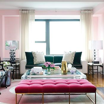 Pink Velvet Tufted Bench, Contemporary, living room, Vogue