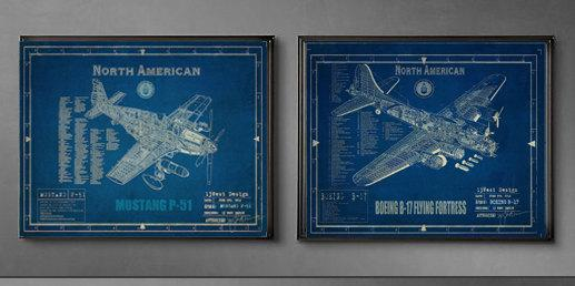Ww2 aircraft blueprints by 13westdesign etsy malvernweather Gallery