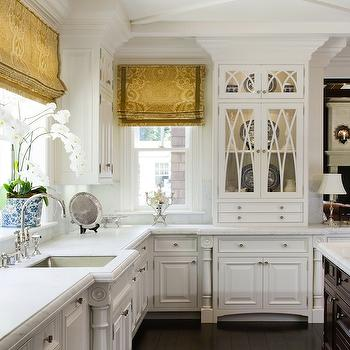 Blue Kitchen Island With Pacific White Marble Countertop