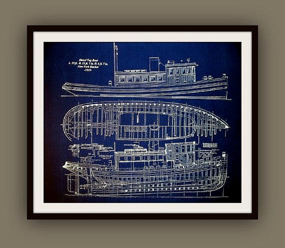 Nautical blueprints by 13westdesign etsy malvernweather Gallery