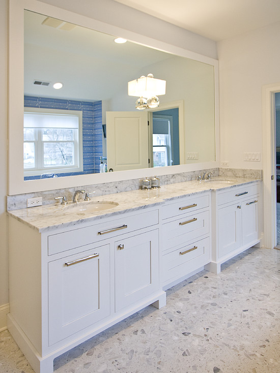 White Double Vanity With Marble Countertop View Full Size