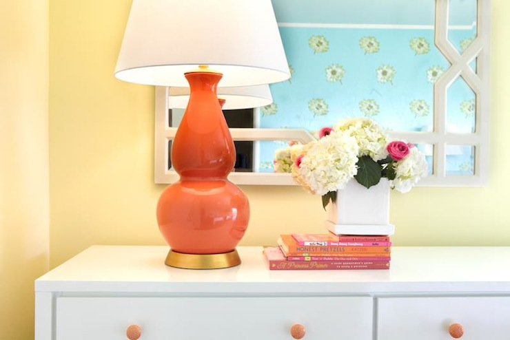 Coral pink lamp transitional girl 39 s room laura - Coral paint color for living room ...