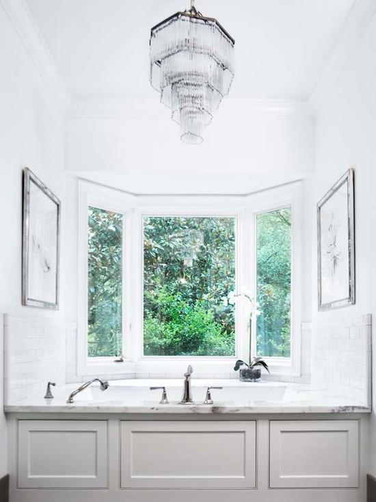 Drop in tub ideas transitional bathroom linda for Bay window bathroom ideas