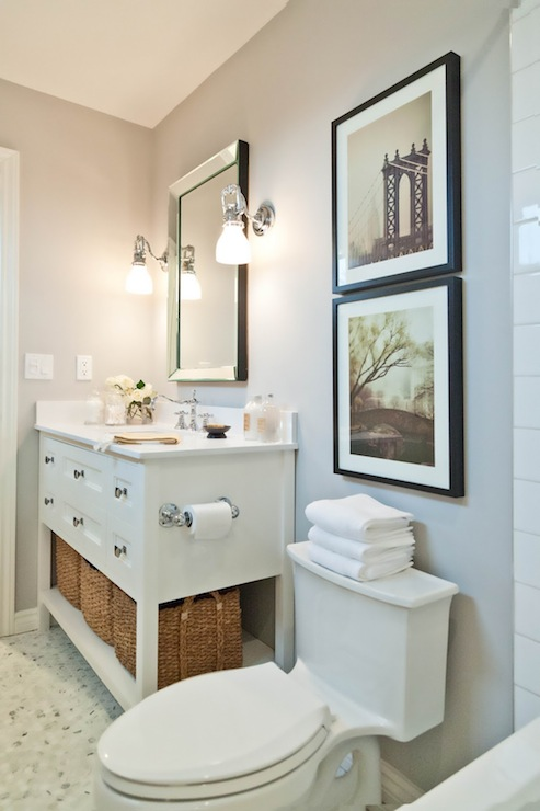 White Single Vanity Contemporary Bathroom Benjamin