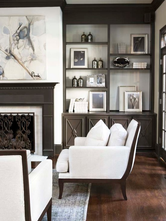 Gray Built Ins Transitional Living Room Linda McDougald Design