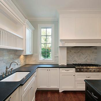 Marble Herringbone Backsplash, Contemporary, kitchen, Oxford Development