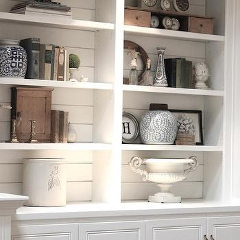 White Built In Cabinets, Cottage, living room, Benjamin Moore White Dove, Forever Cottage