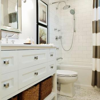 White and Gray Striped Shower Curtain, Contemporary, bathroom, Benjamin Moore Stonington Gray, Vanessa Francis Design