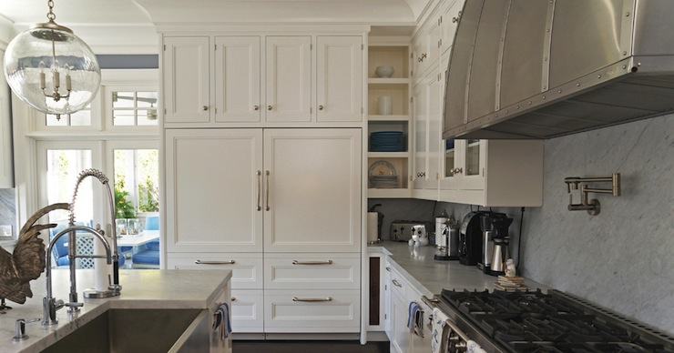 Cabinets over refrigerator transitional kitchen for Kitchen cabinets regina