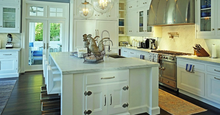 white kitchen cabinets with marble countertops - Regina Kitchen Cabinets