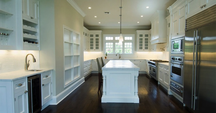 White Kitchen Cabinets With Dark Wood Floors