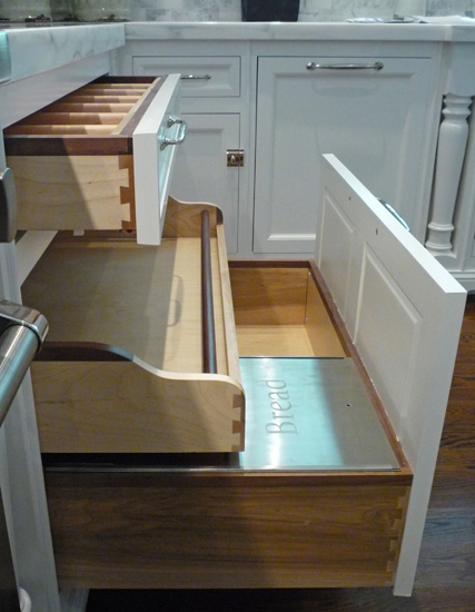 Built In Bread Drawers - Transitional - kitchen - Bakes ...