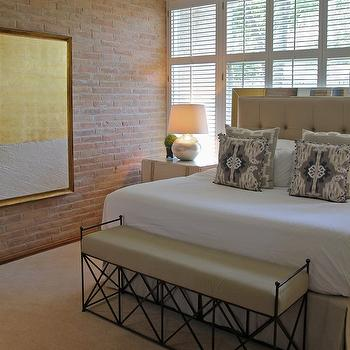 Exposed Brick Wall, Contemporary, bedroom, Kristen Nix Interiors