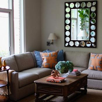 Gray Sectional, Contemporary, living room, Kristen Nix Interiors