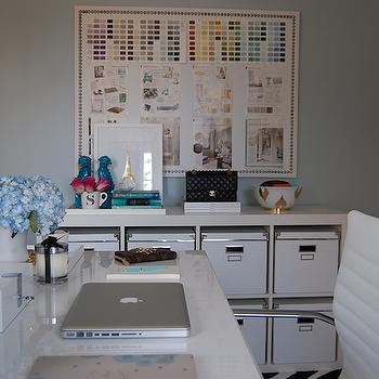 White and Blue Office, Contemporary, den/library/office, Benjamin Moore Smoke