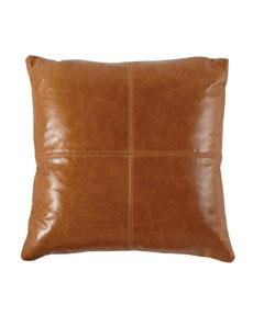Leather Patchwork Pillow, Horchow
