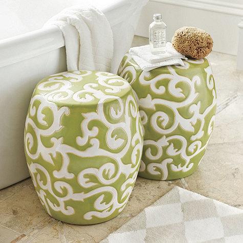 Vivid Green Ceramic Garden Stool LampsPluscom