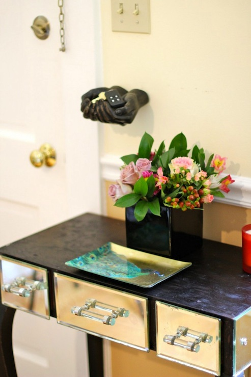 Yellow Console Table Eclectic Entrance Foyer Capella
