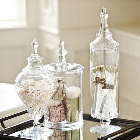 Glass apothecary jar ballard designs for Bathroom accessories jars