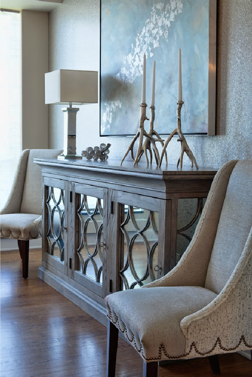 Rustic Foyer Mirror : Mirrored buffet transitional entrance foyer
